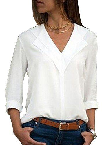 9bfb7bdf8c34 Aswinfon Chemise Femme Manche Longue Col V Casual Blouse Fluide Chic  Classique Top Tunique (Blanc S)
