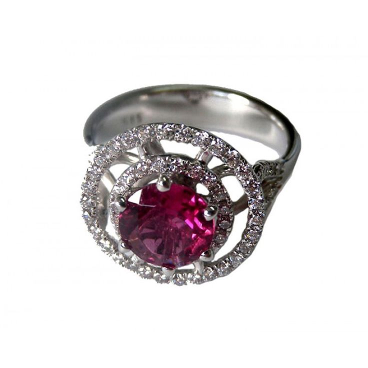 Tourmaline, Engagement ring,1.20 carat, surrounded by 71 F/VS diamonds in White gold ring - on SALE ! - Lianne Jewelry