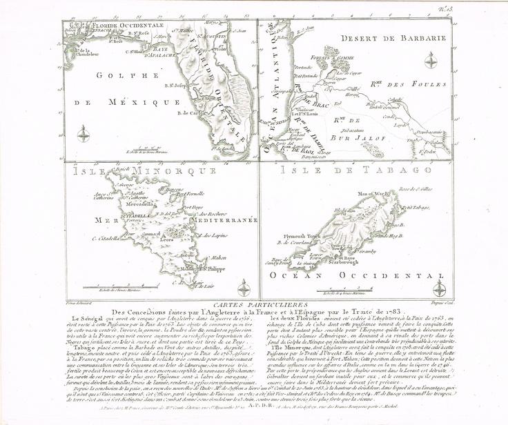 Cartes particulières des concessions faites par l'Angleterre à la France et à l'Espagne par le traité de 1783