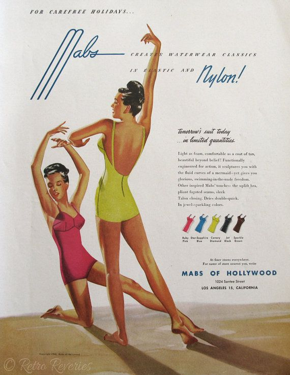 1946 Mabs of Hollywood Ad Retro Swimsuits by RetroReveries