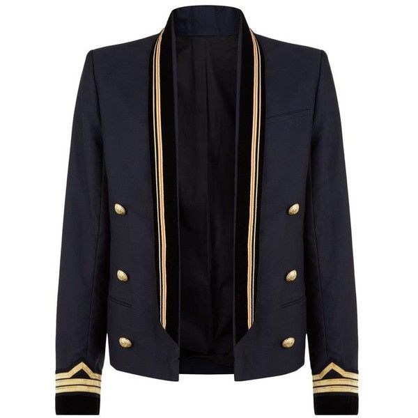 Balmain Shawl Collar Jacket ($2,945) ❤ liked on Polyvore featuring men's fashion, men's clothing, men's outerwear, men's jackets, jackets, outerwear, balmain, balmain jackets, blazers and mens double breasted military jacket