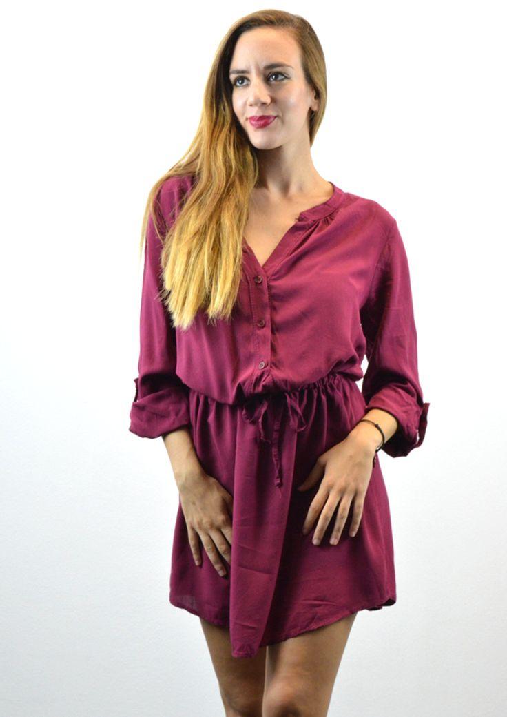 Φόρεμα Πουκάμισο με Ζώνη - ΜΠΟΡΝΤΟ | shop online: www.musitsa.com