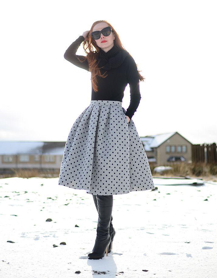 full polka dot skirt and over-the-knee boots: www.ForeverAmber.co.uk