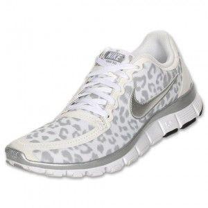 Authentiek Dames Nike Free 5.0 V4 luipaard opleiding wit zilver grijs Schoenen