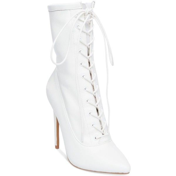 Steve Madden Women's Satisfied Lace-Up Stiletto Booties ($129) ❤ liked on Polyvore featuring shoes, boots, ankle booties, white leather, stiletto booties, leather lace up boots, white booties, leather boots and steve madden booties