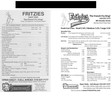 Fritzies Takeout Menu Before and After