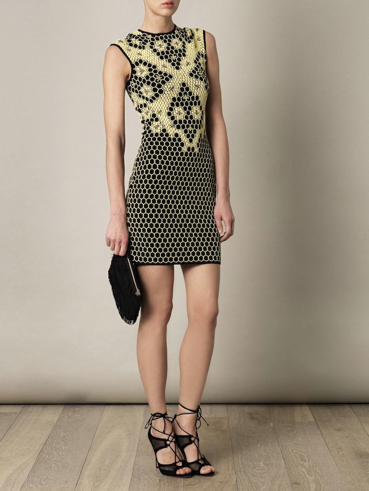 Yellow And Black Knit Honeycomb And Bees Jacquard Dress