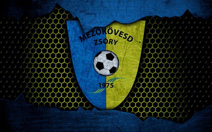 Download wallpapers Mezokovesd-Zsory, 4k, logo, NB I, Hungarian Liga, soccer, football club, Hungary, grunge, metal texture, Mezokovesd-Zsory FC