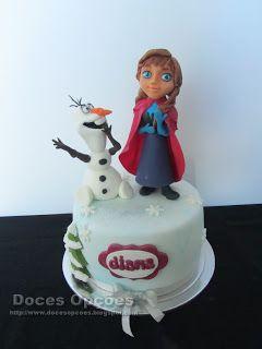 Doces Opções: Bolo de aniversário Frozen com a Anna e o Olaf