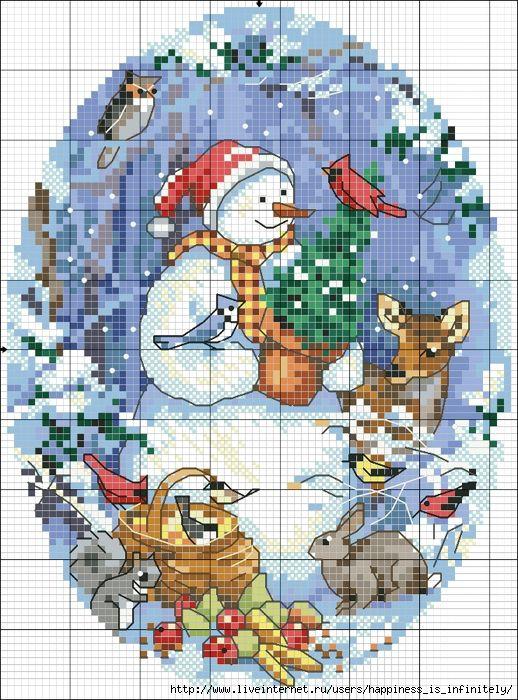 cross stitch christmas snowman and deer