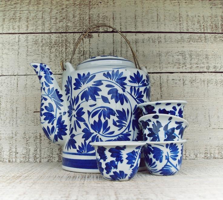 Blue and White China Tea Set // Collector Tea Pot and Tea Cups // Asian Tea Set // Small Tea Cup Set // Blue and White China. $28.00, via Etsy.
