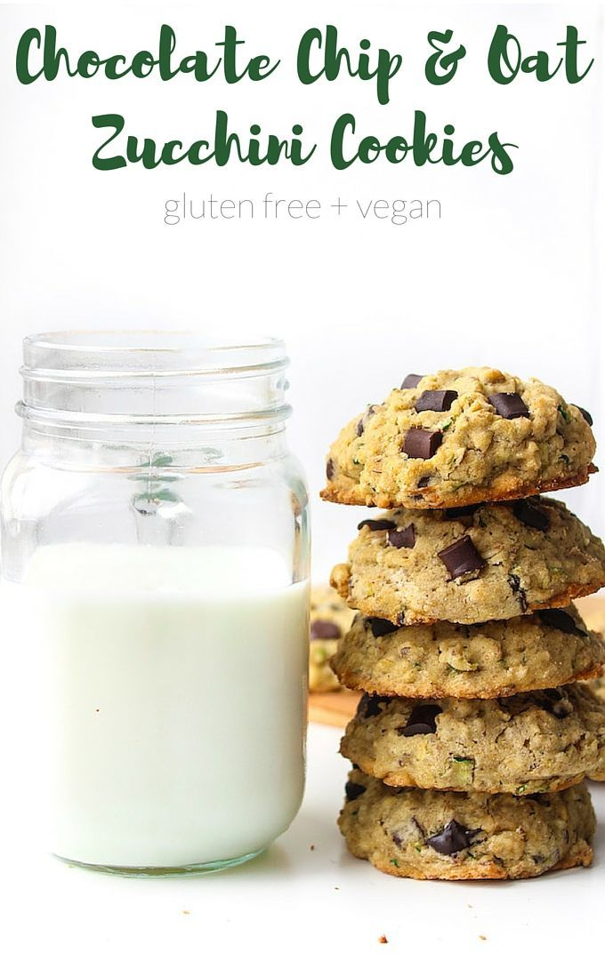 Chocolate Chip Oatmeal Zucchini Cookies - a quick and easy one bowl recipe! Gluten Free, Vegan & Low FODMAP   Perfect for ....
