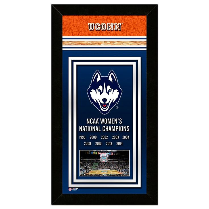 "UConn Huskies 2014 Ncaa Women's Basketball Champions 14.5"" x 27.5"" Framed Banner, Multicolor"