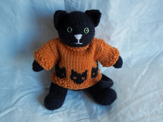 Halloween Knitting Patterns : Knitted toy cat in halloween sweater by WestcoastAttic on Etsy Critters 13 ...