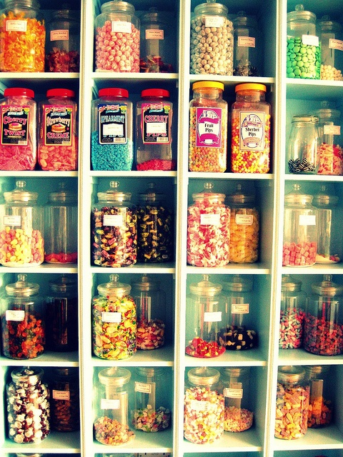 Some day in my dream house I'm going to have a candy cupboard like this. People will come from all the land just to see it.