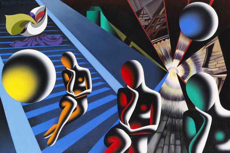 https://flic.kr/p/TQKDmB | Mark Kostabi - Millennium of Loneliness [2009-10] | Mark Kostabi (born Los Angeles, November 27, 1960) is an American artist and composer. Kostabi is most known for his paintings of faceless figures which often comment on contemporary political, social and psychological issues, and which have visual stylistic roots in the work of Giorgio de Chirico and Fernand Léger.  [Ketterer Kunst Auctions, Munich - Oil on canvas, 60 x 90 cm]