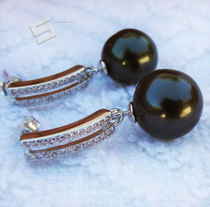 11.5MM Real Tahitian Pearls Earrings, Lustrous Genuine South Sea Tahitian Pearls Earring Dangles In Sterling Silver Earring Drops by SakuraPearlsAndGems on Etsy