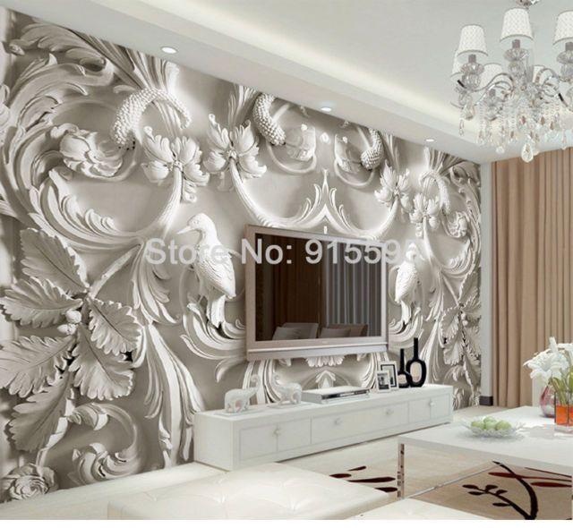 Best 3D Sitting Room Bedroom Tv Background Embossed Flowers 400 x 300