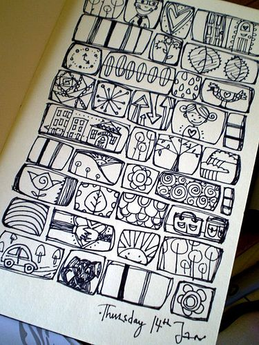 Little doodle windows. This is a great idea // Journaling. Perhaps the windows should represent events/ideas from your day.