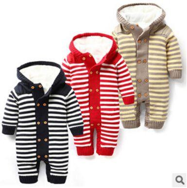 Winter 1PCS Baby rompers plus villus new unisex born jumpsuit warm baby boy clothes recem nascido roupa de bebe menino macacao