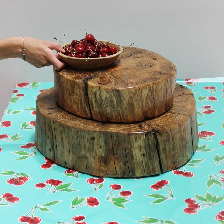 Tree stump slice wedding cake stand centerpiece pedestal