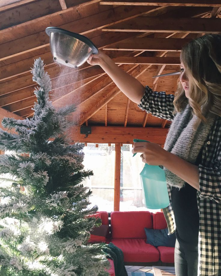 Step by Step Tutorial on How to flock your own Christmas tree. It's SO much easier than you'd think!