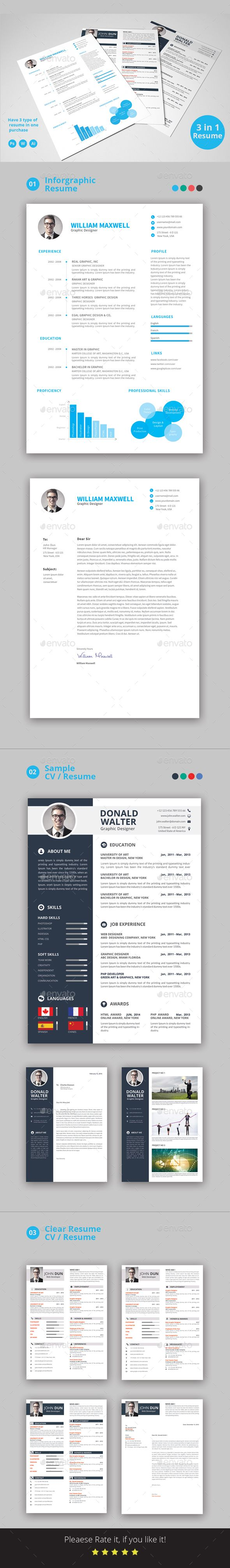 Resume Bundle #minimal cv #curriculum vitae  • Download here → https://graphicriver.net/item/resume/16597988?ref=pxcr