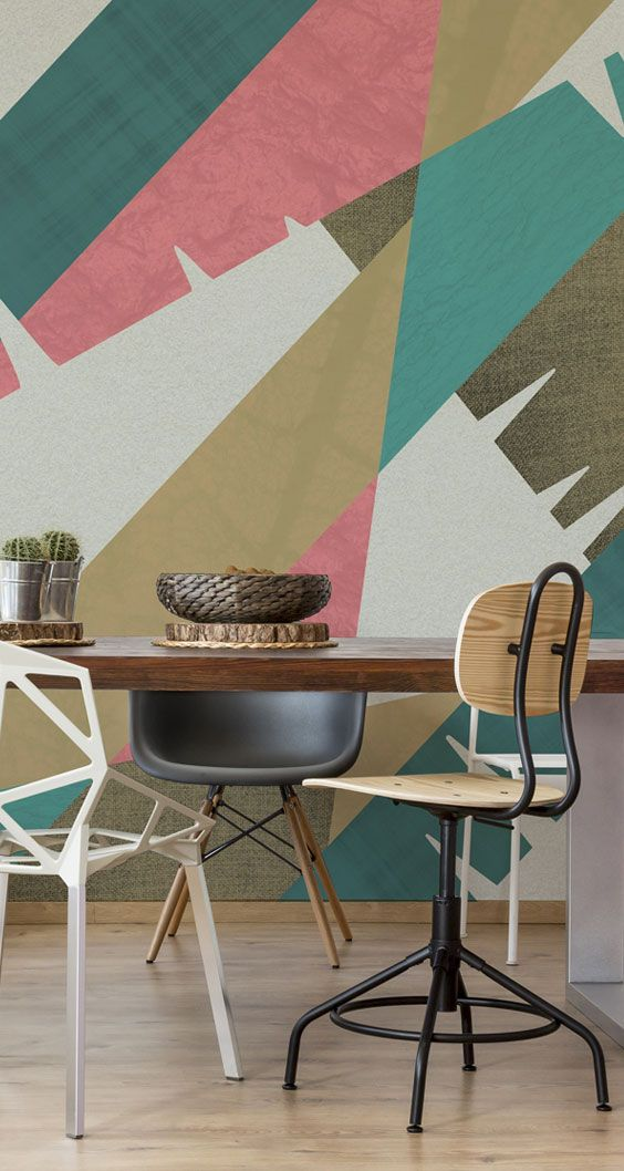Gather around this striking geometric patterned wallpaper by Twisted Pixels at Wallsauce.com. Featuring neutral pinks, greens and blues, this patterened wallpaper is great for any room, particularly the dining room and kitchen! Prices shown are per square foot. Click for full details and prices