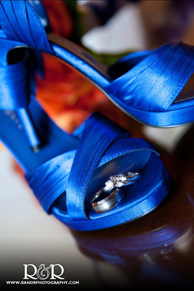 These Royal Blue Bridal Shoes Were The Perfect Place To Pose This Couples Wedding Rings