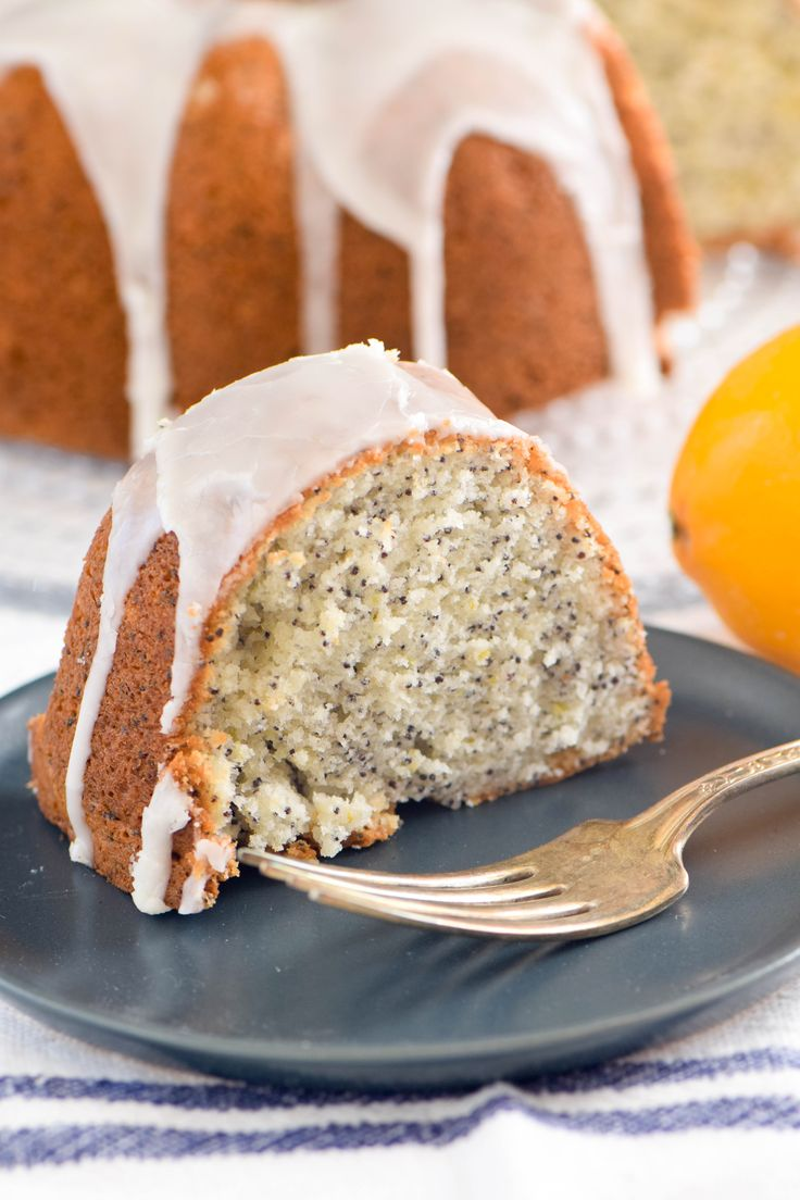 A delicate, tender poppy seed cake drizzled with a tart lemon glaze. Perfect for serving with coffee or afternoon tea. A fitting dessert for the Jewish festival of Purim.