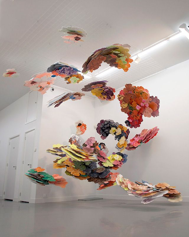 Suspended Cloud Paintings by Joris Kuipers painting installation clouds abstract