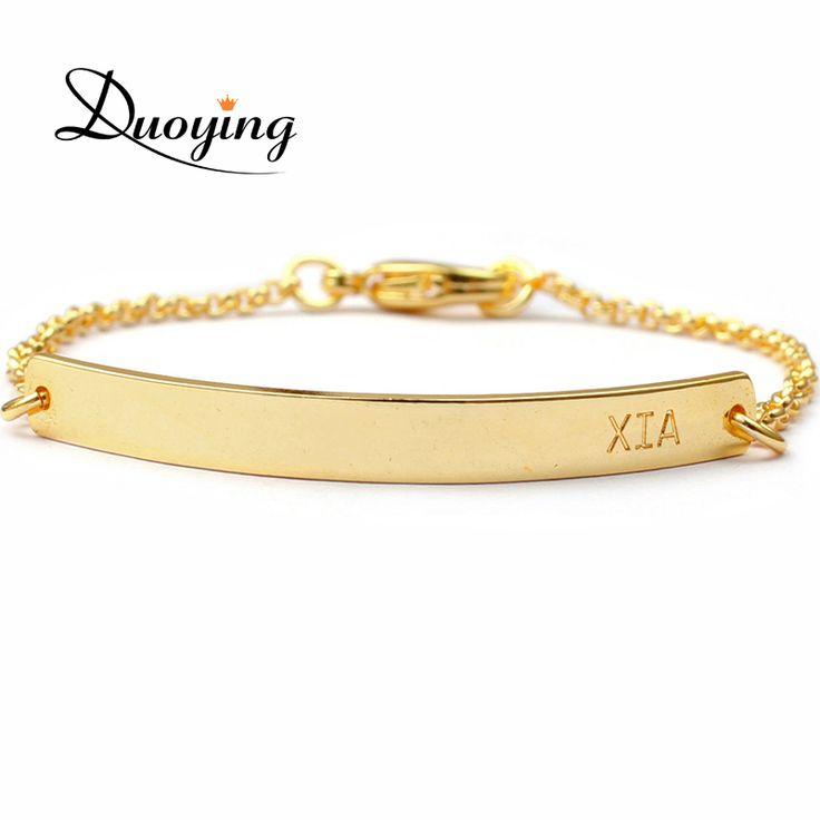 DUOYING Brand Baby Bar Bracelet Custom Engraved Name Bracelet Personalized Initial Bracelet For Baby