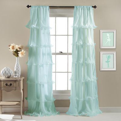 Lark Manor Aubin Light-Filtering Single Curtain Panel Color: Light Aqua
