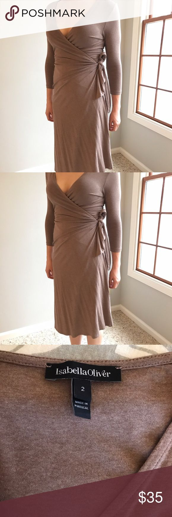 Isabella Oliver Wrap Dress in Brown. Size 2. Isabella Oliver Wrap Dress in Brown. Size 2. Maternity dress and great post-partum as well! Like-new condition! Isabella Oliver Dresses Midi