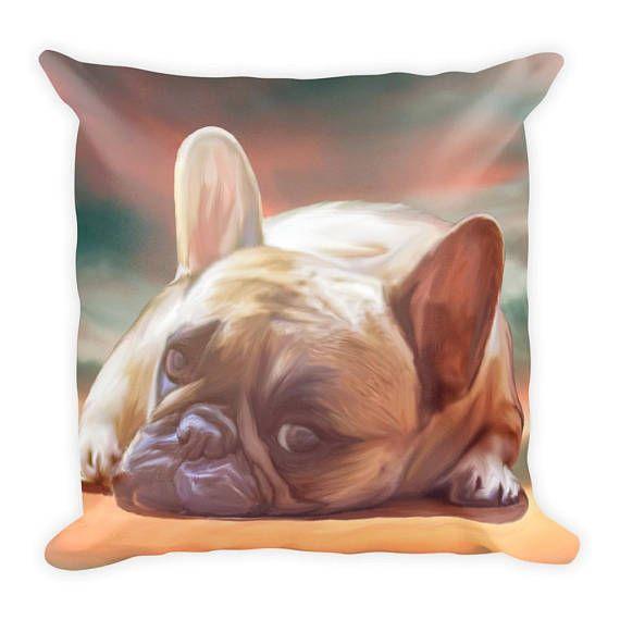 #FrenchBulldog Watercolor Art Portrait Square #Pillow #frenchie