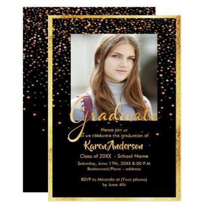 Black and gold photo graduation party confetti card - invitations custom unique diy personalize occasions