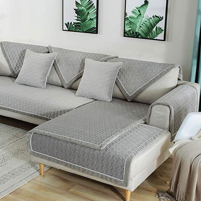 Tewene Sofa Cover Velvet Couch Cover Anti Slip Sectional Couch
