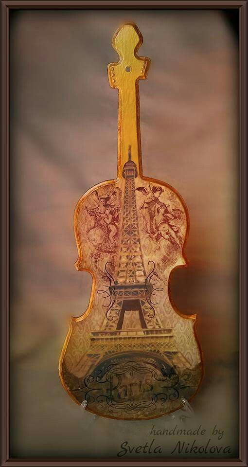 "Violin-pano,, Paris-city of love"". Handmade by Svetla Nikolova."