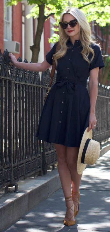 A navy shirt dress + super cute + waist tie detailing + Blair Eadie's fabulous figure.    Dress: CeCe by Cynthia Steffe.