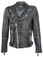 Gipsy - Herren Lederjacke Bikerjacke schwarz-beige