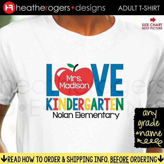 Teacher Kindergarten Shirt  Back to School by HeatherRogersDesigns                                                                                                                                                      More