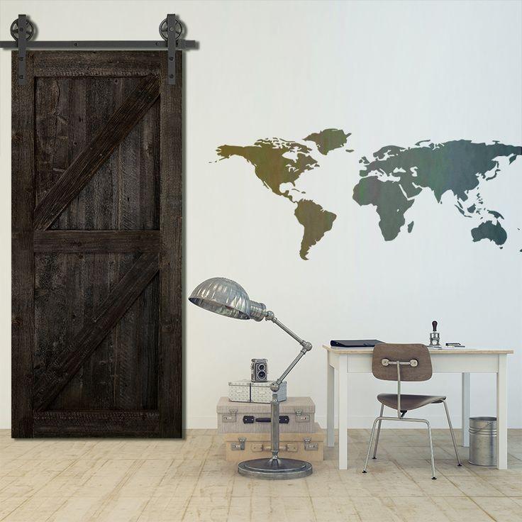 Porte de grange coulissante en z sliding barn door for - Porte coulissante en verre pas cher ...