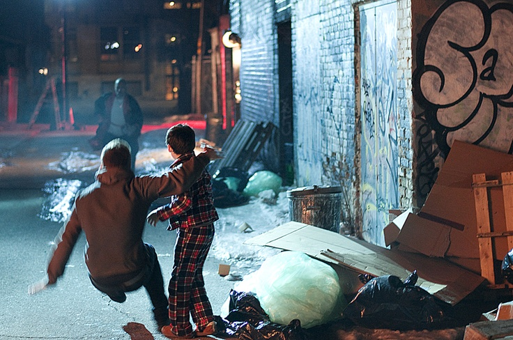 This is what happens when you hang out in the Toronto alleys...You get weird guys in robes chasing after you. #OnSet