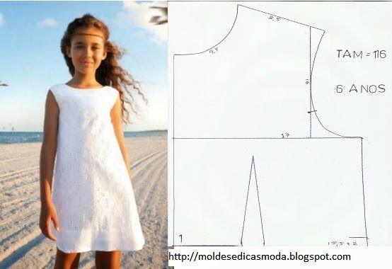 molde de vestido de criança grátis para imprimir