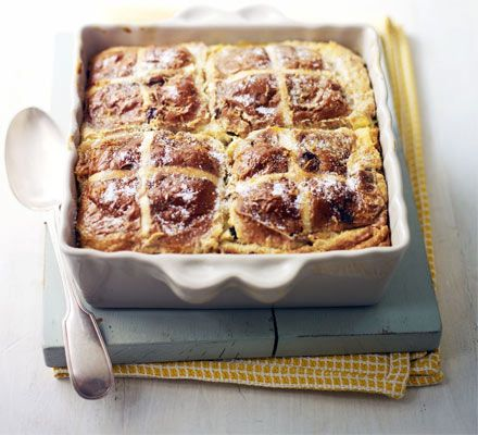 Hot cross bread & lemon pudding. Use up your leftover fruit buns in this sumptuous spin on traditional bread and butter pudding - a great spring bake.