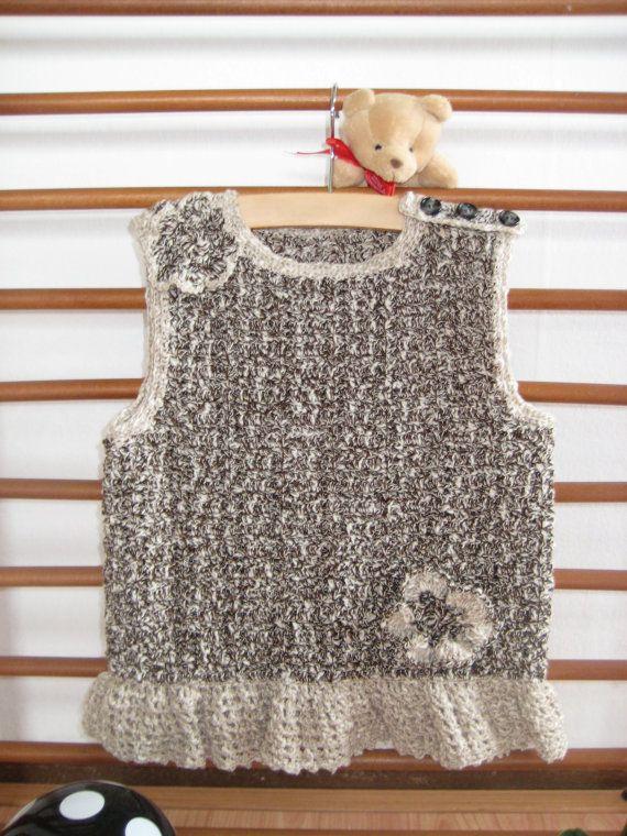 Baby Dress Brown Beige White Viscose by MinnieCreation on Etsy, €39.28