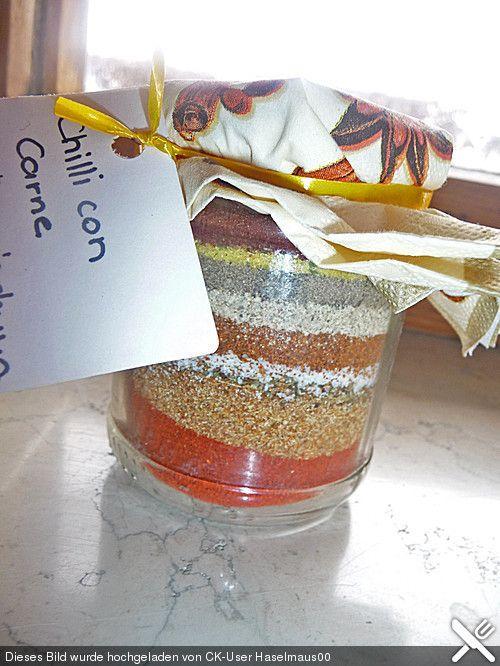 Selbstgemachtes Fix für Chili con Carne Gewürzmischung im Glas (auch ein prima Geschenk)