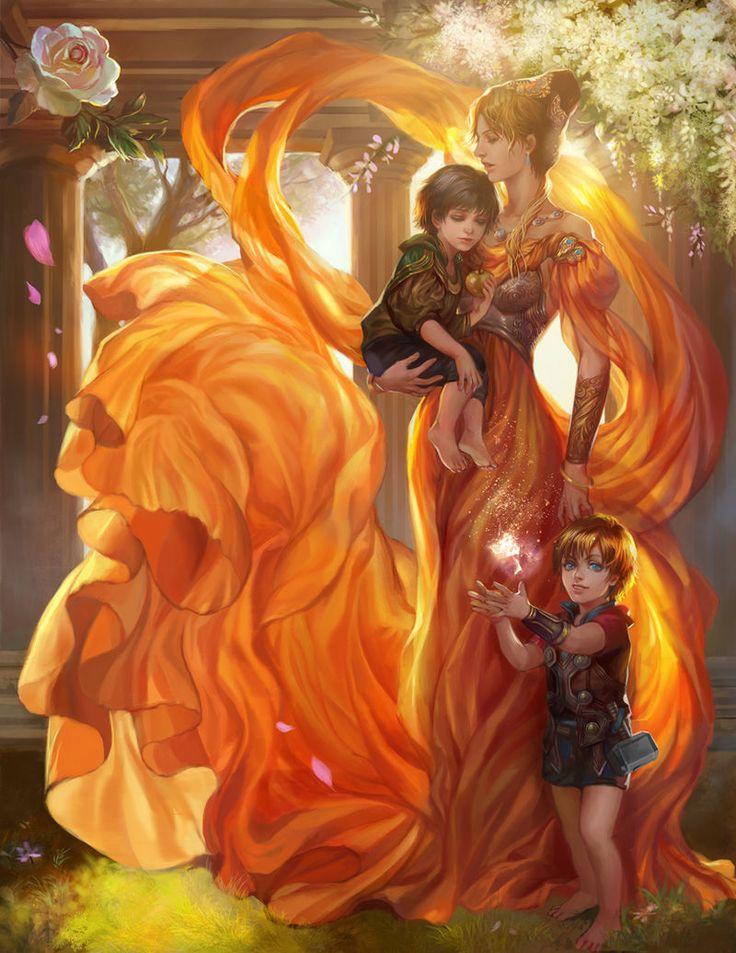 AMAZING painting - Thor, Loki, and Frigga [Artist: Jiuge]