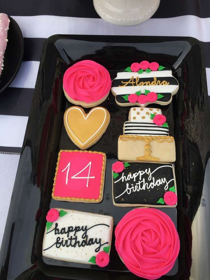 The decorated cookies at this Kate Spade Birthday Party are so beautiful!! See more party ideas and share yours at CatchMyParty.com
