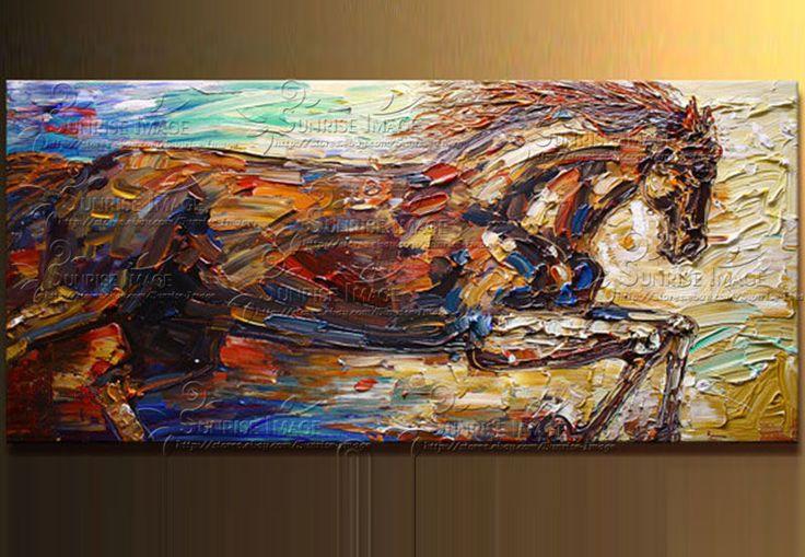 dipinta a mano di arte della parete bella e gentile cavallo bianco casa decorazione astratta pittura a olio animale di paesaggio su tela di canapa no incorniciato(China (Mainland))